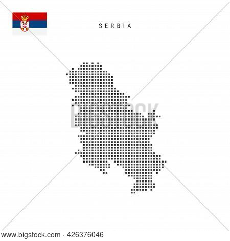 Square Dots Pattern Map Of Serbia. Serbian Dotted Pixel Map With National Flag Isolated On White Bac