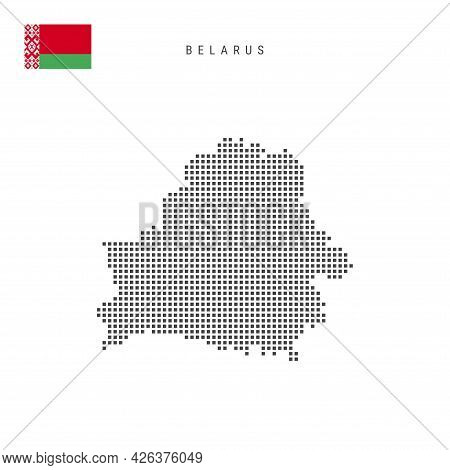 Square Dots Pattern Map Of Belarus. Belorussian Dotted Pixel Map With National Flag Isolated On Whit