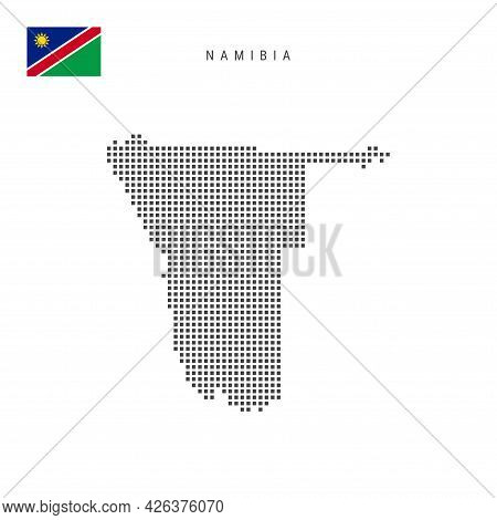 Square Dots Pattern Map Of Namibia. Namibian Dotted Pixel Map With National Flag Isolated On White B