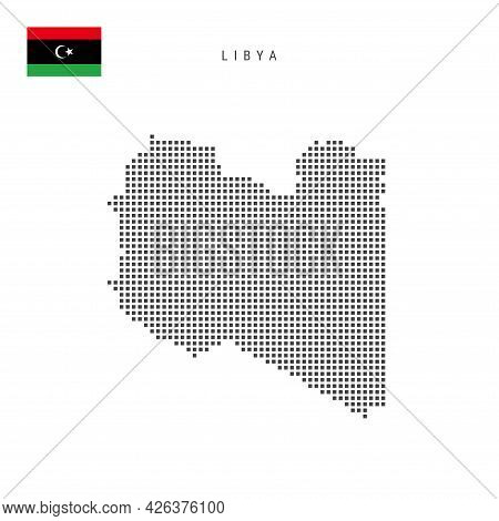 Square Dots Pattern Map Of Libya. Libyan Dotted Pixel Map With National Flag Isolated On White Backg