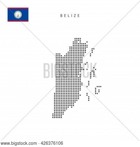 Square Dots Pattern Map Of Belize. Belizean Dotted Pixel Map With National Flag Isolated On White Ba