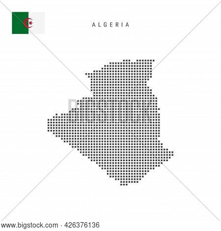 Square Dots Pattern Map Of Algeria. Algerian Dotted Pixel Map With National Flag Isolated On White B