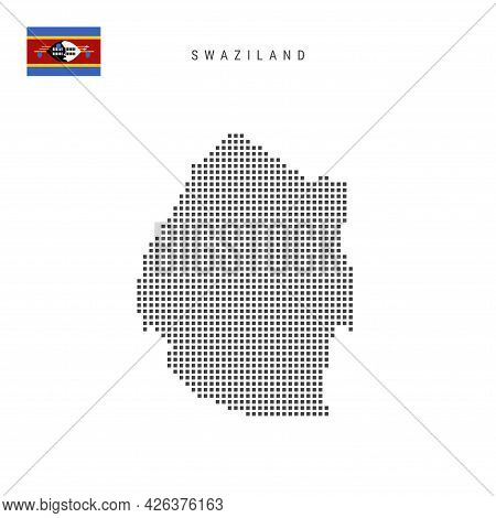Square Dots Pattern Map Of Swaziland. Eswatini Dotted Pixel Map With National Flag Isolated On White