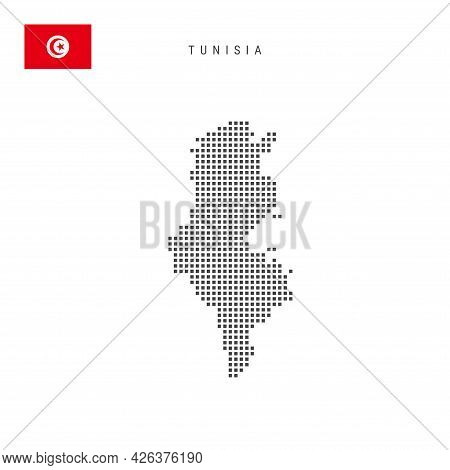 Square Dots Pattern Map Of Tunisia. Tunisian Dotted Pixel Map With National Flag Isolated On White B