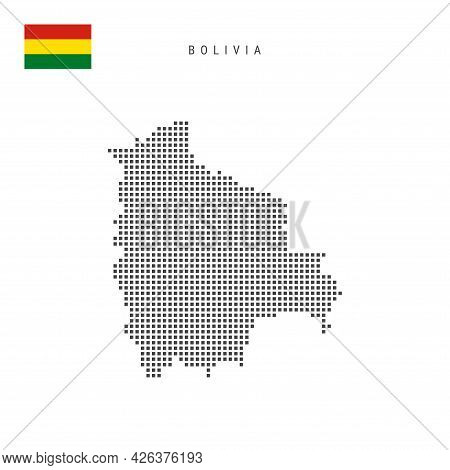 Square Dots Pattern Map Of Bolivia. Bolivian Dotted Pixel Map With National Flag Isolated On White B