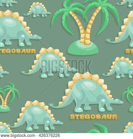 Dino. Stegosaurus Background, Coconut Tree. Cute Dinosaur Vector Drawing For Print. Seamless Backgro