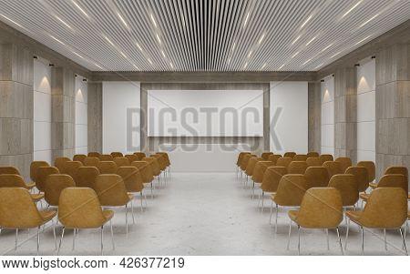 Empty auditorium room interior with screen 3D rendering