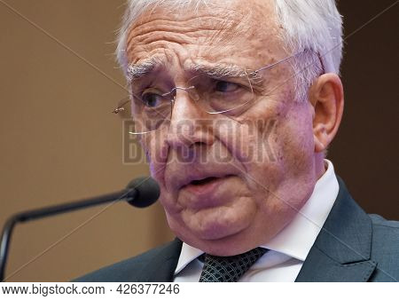 Bucharest, Romania - July 07, 2021: Bnr Governor Mugur Isarescu Speak About The Decisions Of The Nat