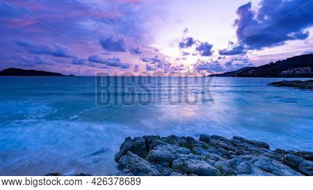 Long Exposure Colorful Sunset Or Sunrise Over Sea Clear Sky Sunset With Reflection Light On Sea Surf