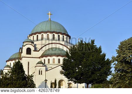The Temple Of Saint Sava (sveti Sava) - Serbian Orthodox Church With Clear Blue Sky In The Backgroun