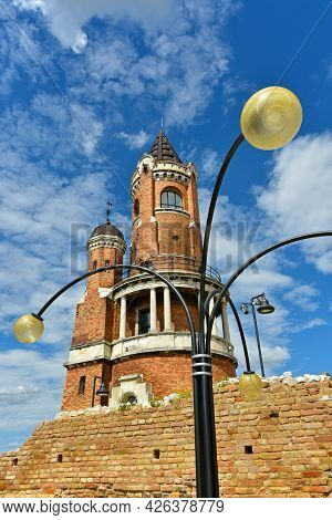 The Gardoš Tower With The Beautiful Lamp Posts In The Foreground. Gardos Tower Is Also Known As Mill