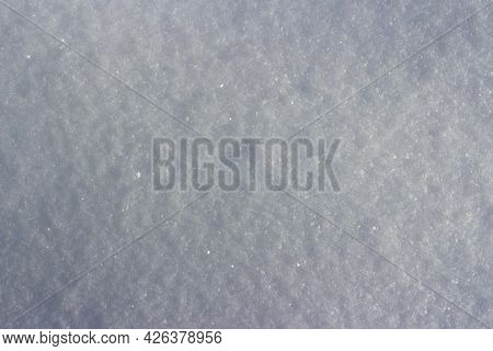Texture Of White Shiny Snow Close Up