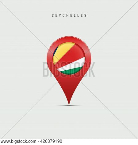 Teardrop Map Marker With Flag Of Seychelles. Republic Of Seychelles Flag Inserted In The Location Ma