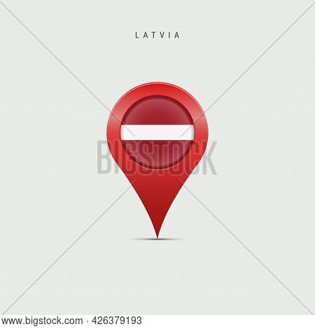 Teardrop Map Marker With Flag Of Latvia. Latvian Flag Inserted In The Location Map Pin. Vector Illus