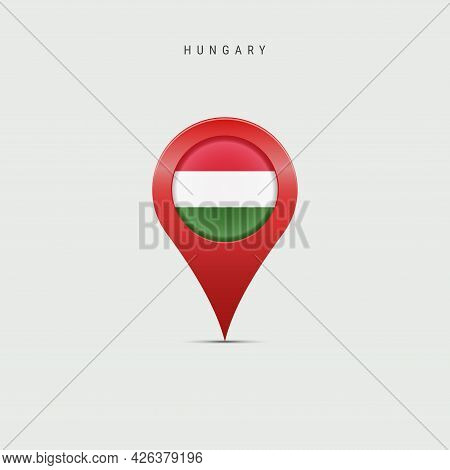 Teardrop Map Marker With Flag Of Hungary. Hungarian Flag Inserted In The Location Map Pin. Vector Il