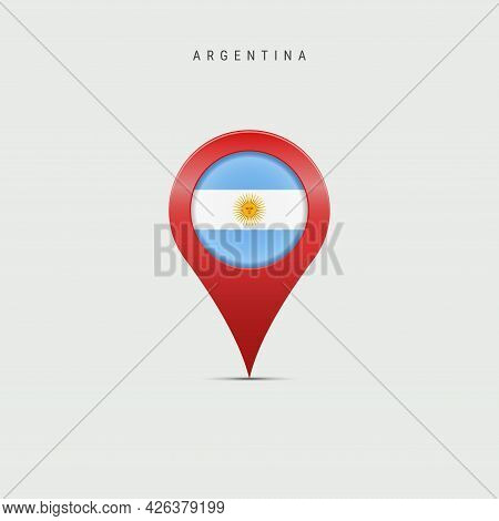 Teardrop Map Marker With Flag Of Argentina. Argentinian Flag Inserted In The Location Map Pin. Vecto