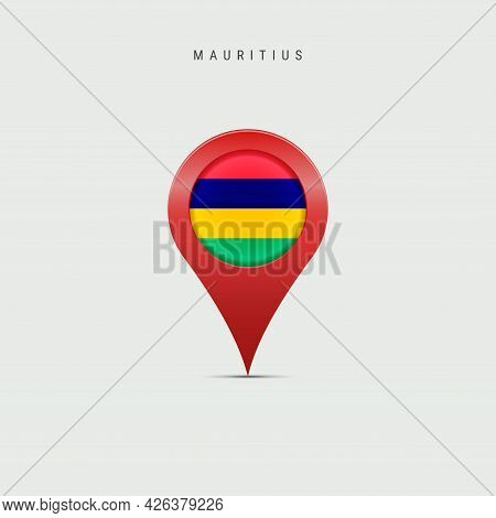 Teardrop Map Marker With Flag Of Mauritius. Mauritian Flag Inserted In The Location Map Pin. Vector