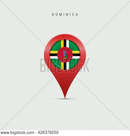 Teardrop Map Marker With Flag Of Dominica. Dominica Flag Inserted In The Location Map Pin. Vector Il
