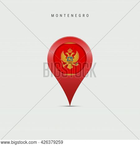 Teardrop Map Marker With Flag Of Montenegro. Montenegrin Flag Inserted In The Location Map Pin. Vect
