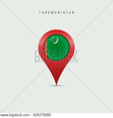 Teardrop Map Marker With Flag Of Turkmenistan. Turkmenian Flag Inserted In The Location Map Pin. Vec