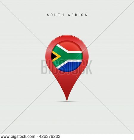 Teardrop Map Marker With Flag Of South Africa. South African Flag Inserted In The Location Map Pin.
