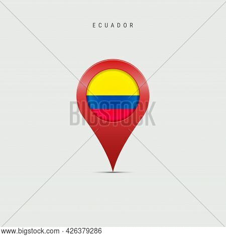 Teardrop Map Marker With Flag Of Ecuador. Ecuadorian Flag Inserted In The Location Map Pin. Vector I