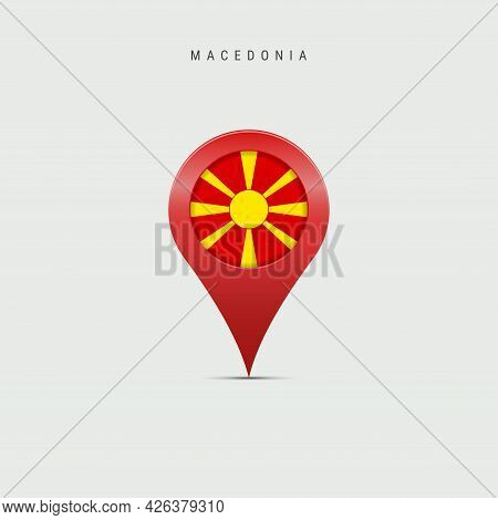 Teardrop Map Marker With Flag Of Macedonia. Macedonian Flag Inserted In The Location Map Pin. Vector