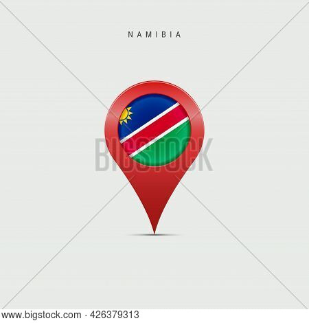 Teardrop Map Marker With Flag Of Namibia. Namibian Flag Inserted In The Location Map Pin. Vector Ill