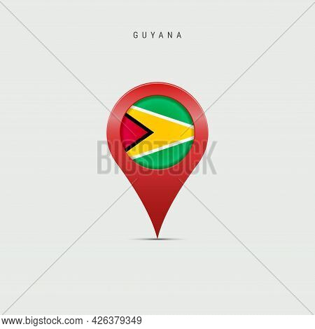 Teardrop Map Marker With Flag Of Guyana. Guyanese Flag Inserted In The Location Map Pin. Vector Illu