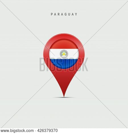 Teardrop Map Marker With Flag Of Paraguay. Paraguayan Flag Inserted In The Location Map Pin. Vector
