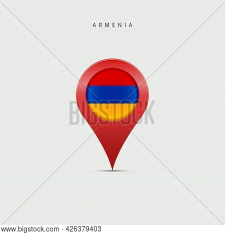 Teardrop Map Marker With Flag Of Armenia. Armenian Flag Inserted In The Location Map Pin. Vector Ill