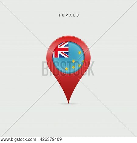 Teardrop Map Marker With Flag Of Tuvalu. Ellice Islands Flag Inserted In The Location Map Pin. Vecto