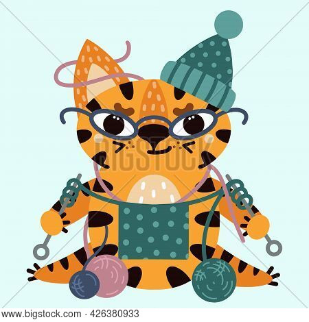 Cute Cartoon Striped Tiger. Vector Illustration Isolated On White Background. The Cat With Glasses K