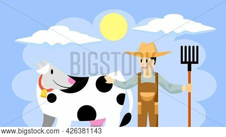 Farmer With Cow Cartoon Vector. Farmers And Cow Smiling At Each Other In The Farm, Kind  Farmer With