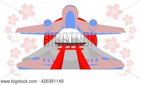 Travel In Japan Vector, Logo Of Japan. Consist Of Fuji Mountain, Torii Door, Night Speed Train Of Ja