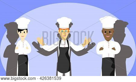 Chef Of Different Nationalities. Chef Vector With Back Shadow