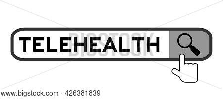 Search Banner In Word Telehealth With Hand Over Magnifier Icon On White Background