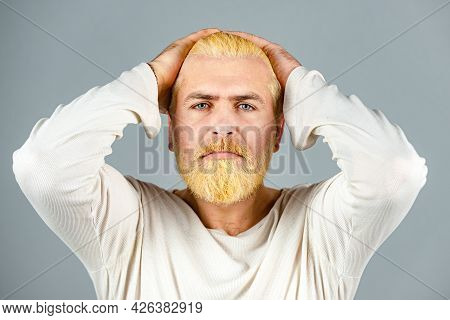Bearded Blonde Man With Long Beard And Moustache. Portrait Of Bearded Man With Color Hair. Hair Colo