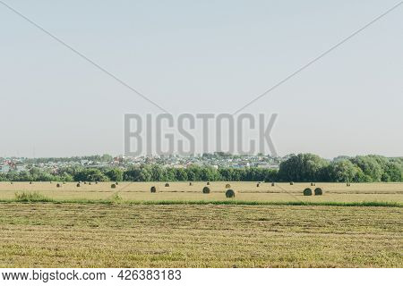 Tractor Plows The Floor. Haystacks After Working With A Tractor Farming, Baling, Baler, Hay Harvesti