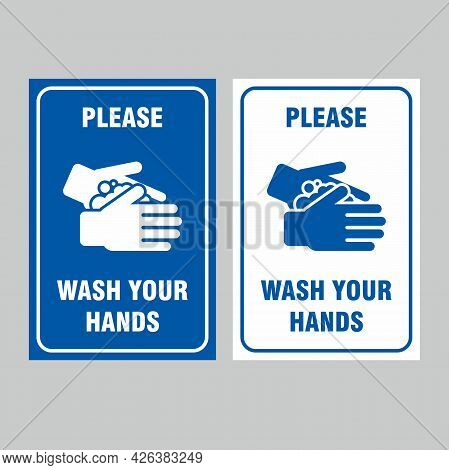 Please Wash Your Hands Poster Design, Simple Clean Blue Washing Hands Campaign With Flat Icon Symbol