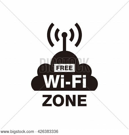 Free Wifi Zone Symbol Illustration Design, Flat Wifi Sign With Signal And Cloud Template Vector