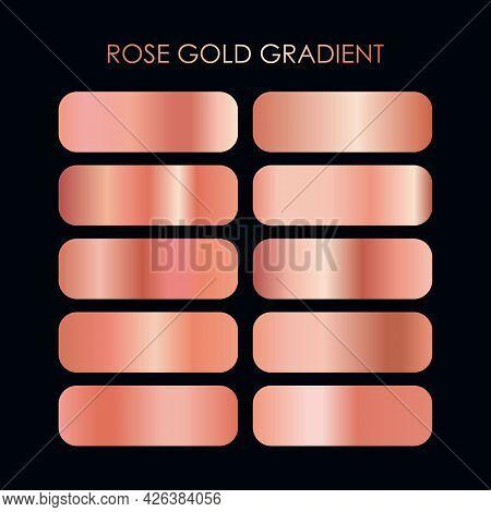 Vector Set Of Premium Rose Gold Gradient Texture Illustration, Metalic Rose Gold Gradient Template