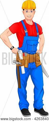 Carpenter Is Posing On A White Background
