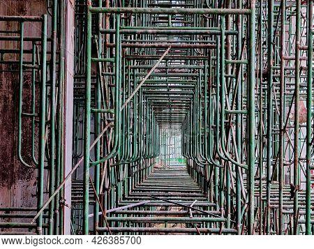 Construction Scaffolding Steel Building Construction Industrial Concept