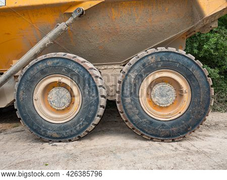Wheel Loader Excavator For Unloading Crushed Stones In Open Sand Quarry Or Mine