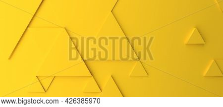 Abstract Modern Yellow Triangle Background, 3d Rendering