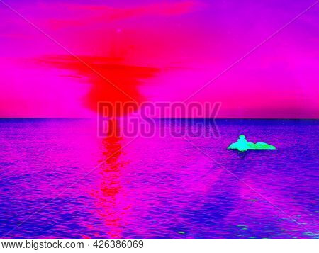 Dark Abstract Background In Ultraviolet Color. Night Sky Background, Reflection Of Sunset On Water,.