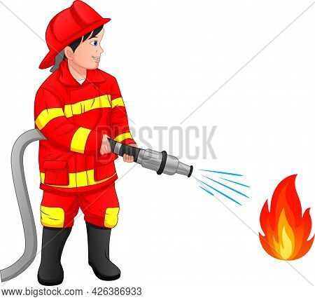 Firefighter Boy Is Putting Out The Fire