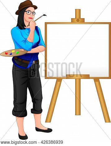 Painter Girl Posing In Front Of The Canvas