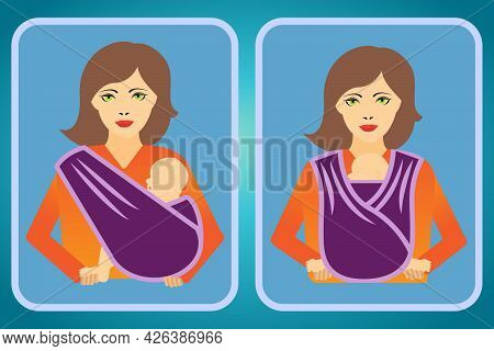 Two Icons Of A Woman With Her Baby In A Sling Showing Two Different Positions